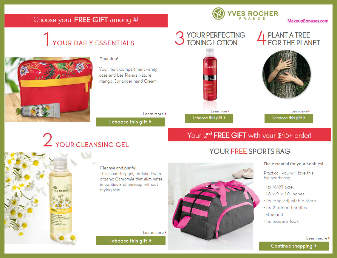 Receive your choice of 3-pc gift with $45 Yves Rocher purchase