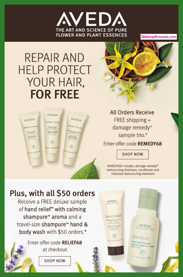 Receive a free 5-pc gift with $50 Aveda purchase