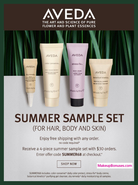 Receive a free 4-pc gift with $30 Aveda purchase