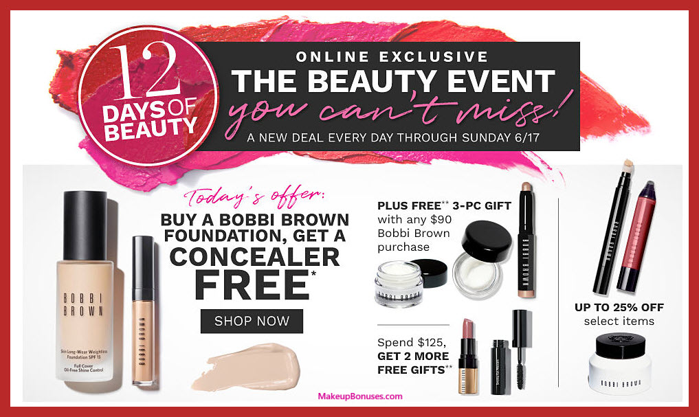 Receive a free 5-pc gift with $90 Bobbi Brown purchase