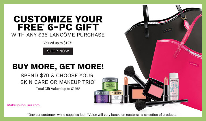 Receive a free 6-pc gift with $35 Lancôme purchase
