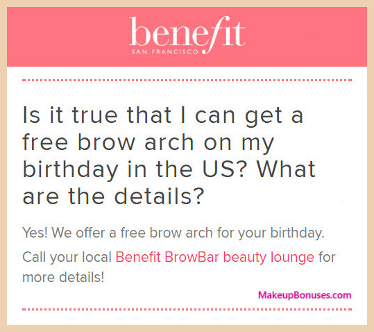 Benefit Cosmetics Birthday Gift - MakeupBonuses.com #benefitbeauty