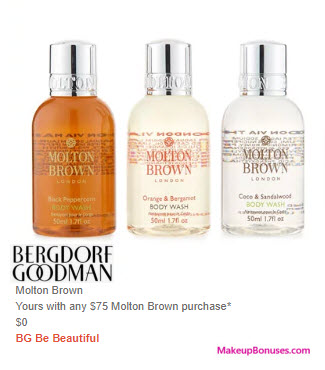 Receive a free 3-pc gift with $75 Molton Brown purchase