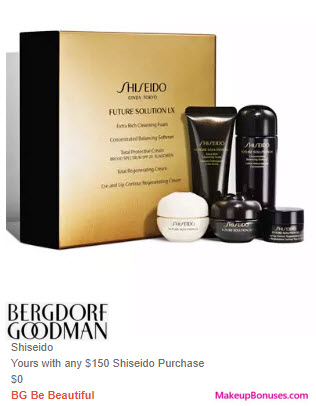 Receive a free 5-pc gift with $150 Shiseido purchase