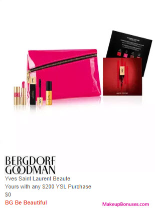 Receive a free 6-pc gift with $200 Yves Saint Laurent purchase