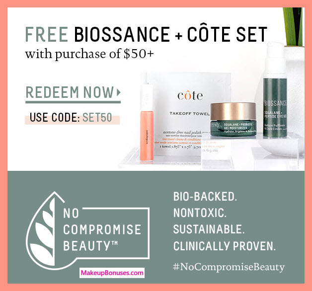 Receive a free 5-pc gift with $50 Biossance purchase