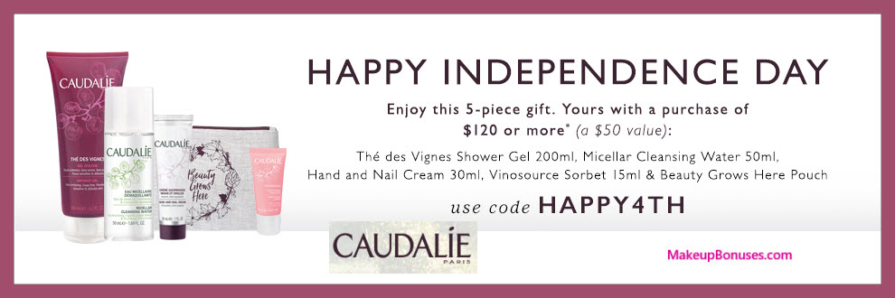Receive a free 5-pc gift with $120 Caudalie purchase