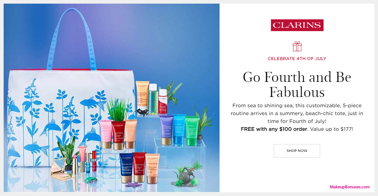 Receive your choice of 6-pc gift with $100 Clarins purchase