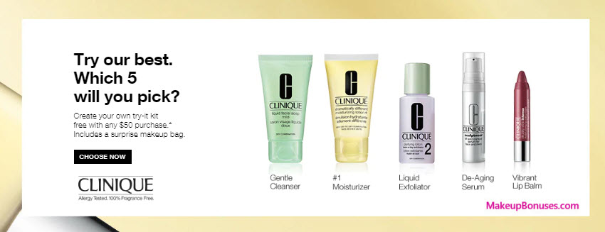 Receive a free 5-pc gift with $50 Clinique purchase