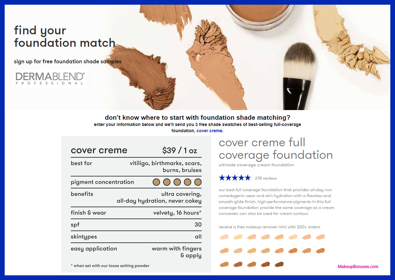 Free Cover Cream Foundation Sample From Dermablend No Purchase Required And Free Shipping Makeup Bonuses