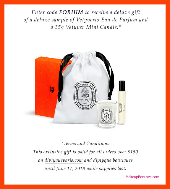 Receive a free 3-pc gift with $150 Diptyque purchase