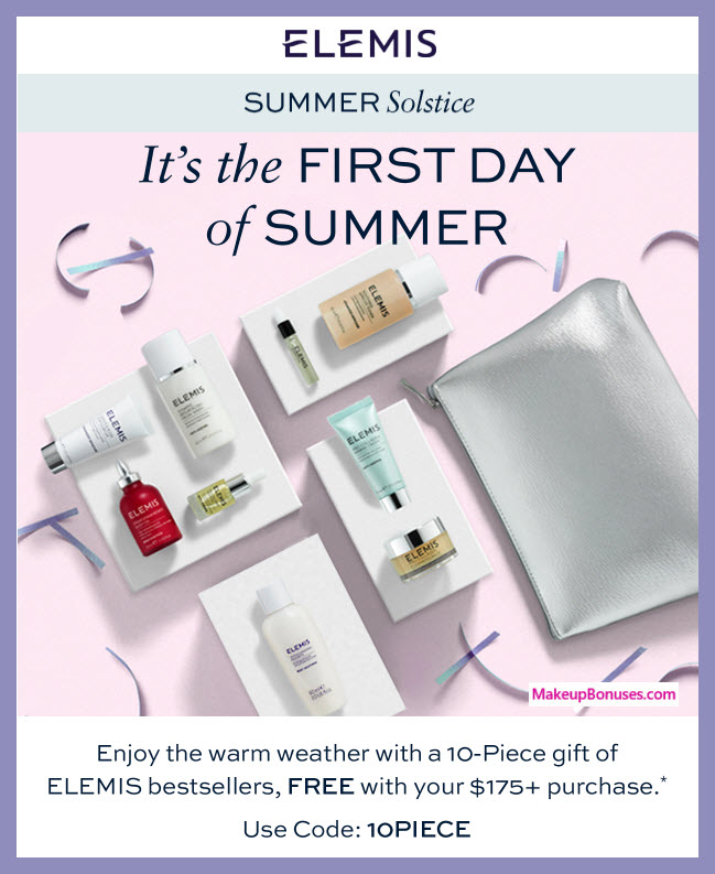 Receive a free 10-pc gift with $175 Elemis purchase