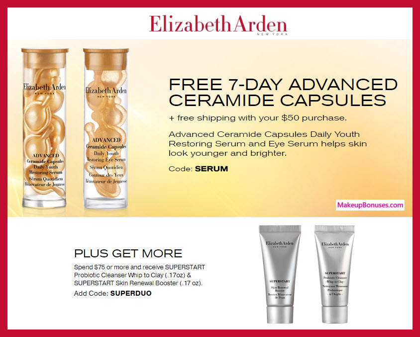 Receive a free 14-pc gift with $50 Elizabeth Arden purchase