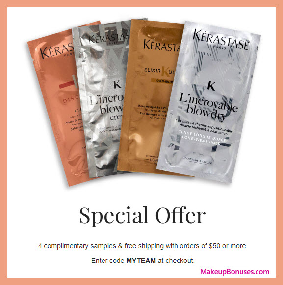 Receive a free 4-pc gift with $50 Kérastase purchase