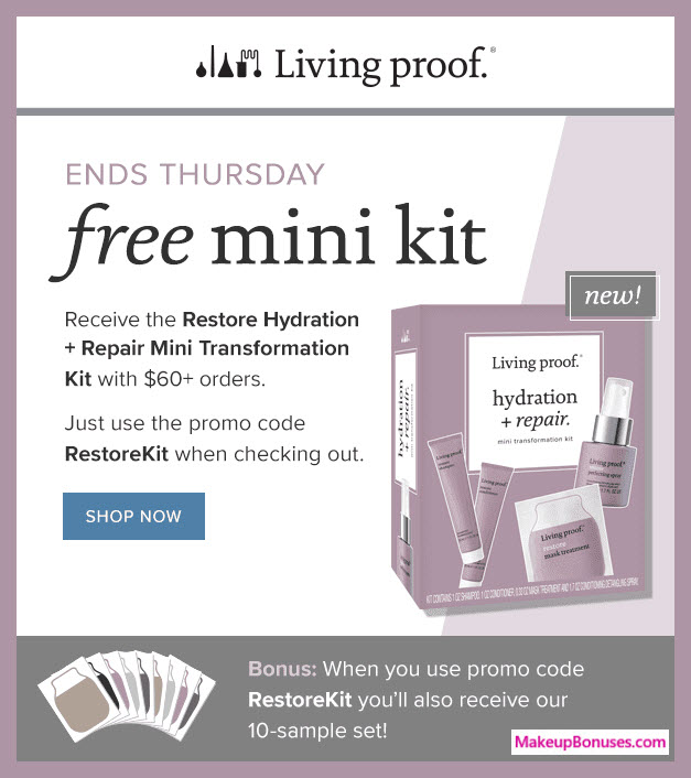 Receive a free 14-pc gift with $60 Living Proof purchase