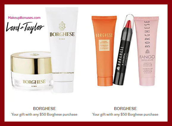 Receive a free 5-pc gift with $50 Borghese purchase