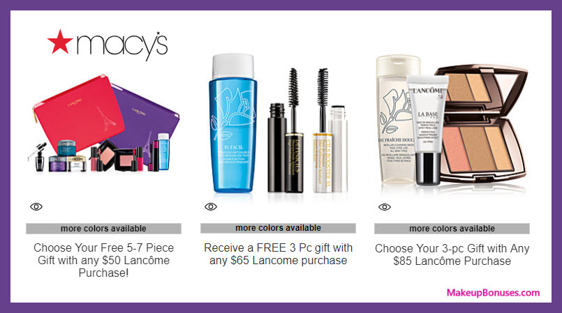 Receive a free 5-pc gift with $50 Lancôme purchase