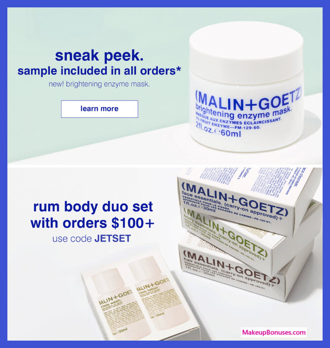 Receive a free 3-pc gift with $100 Malin + Goetz purchase