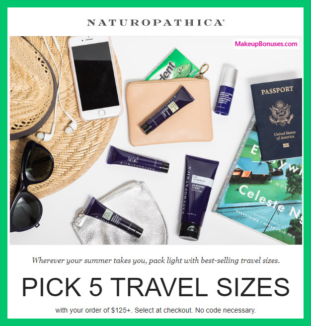 Receive your choice of 5-pc gift with $125 Naturopathica purchase