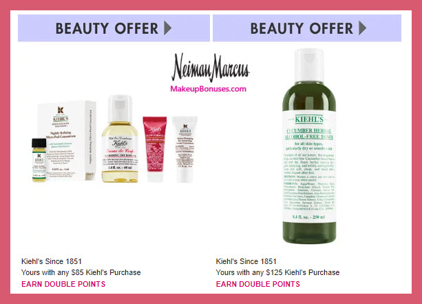 Receive a free 4-pc gift with $85 Kiehl's purchase