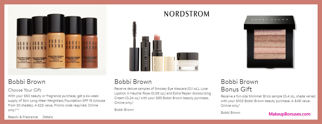 Receive a free 3-pc gift with $85 Bobbi Brown purchase