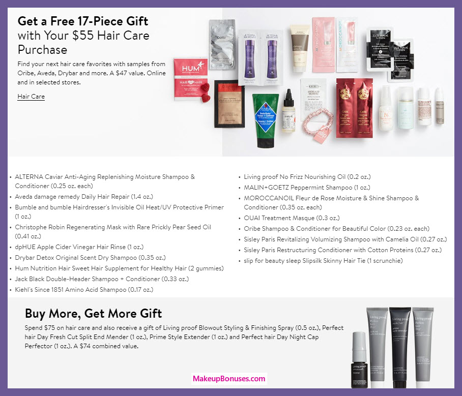 Receive a free 17-pc gift with $55 hair care purchase