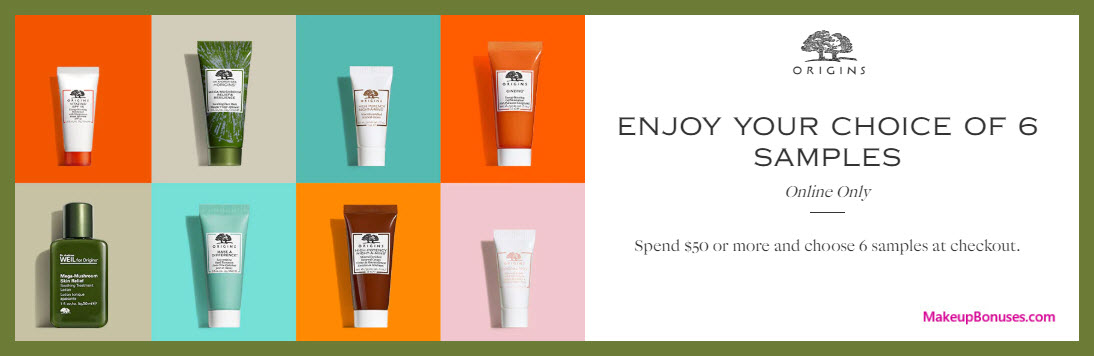 Receive your choice of 6-pc gift with $50 Origins purchase