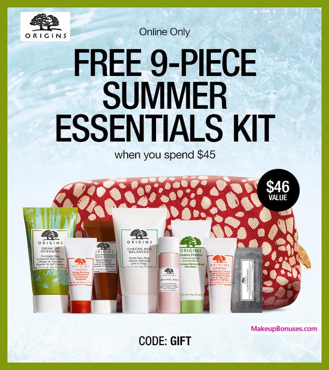 Receive a free 9-pc gift with $45 Origins purchase