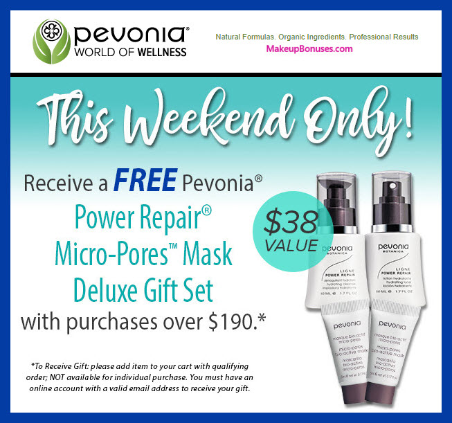 Receive a free 4-pc gift with $190 Pevonia purchase