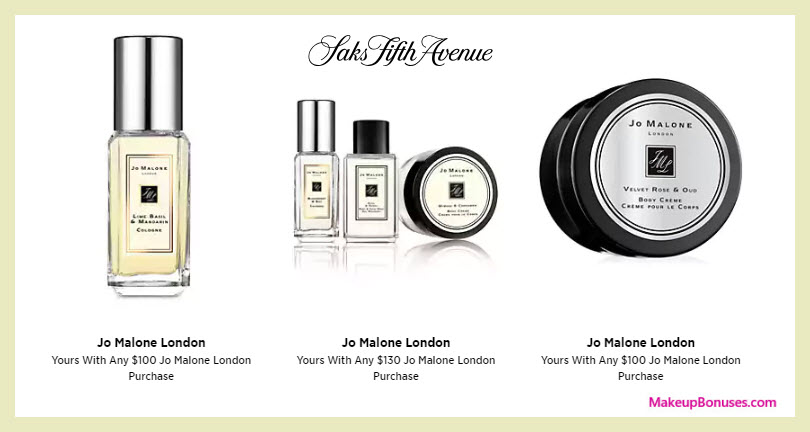 Receive a free 5-pc gift with $130 Jo Malone purchase