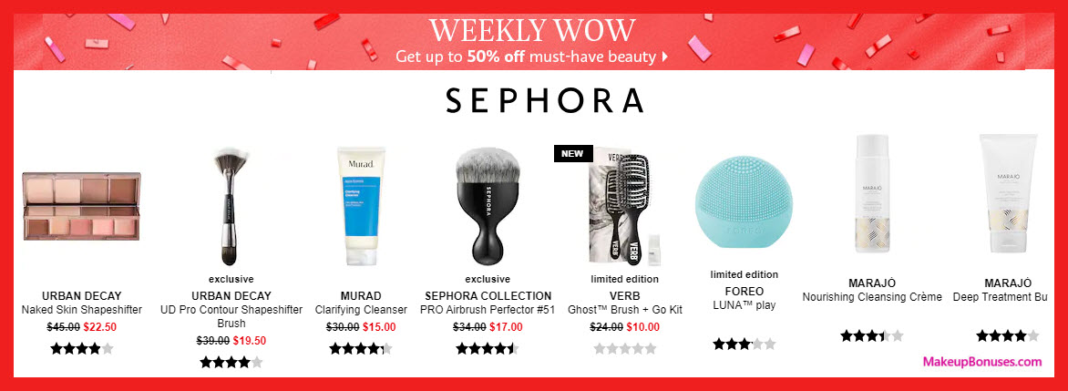 Sephora Weekly Wow Discounts (one week only) - MakeupBonuses.com