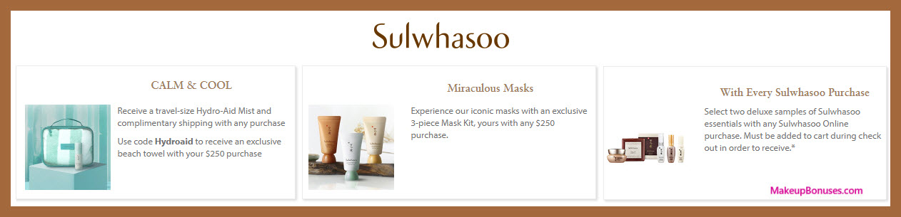 Receive a free 5-pc gift with $250 Sulwhasoo purchase