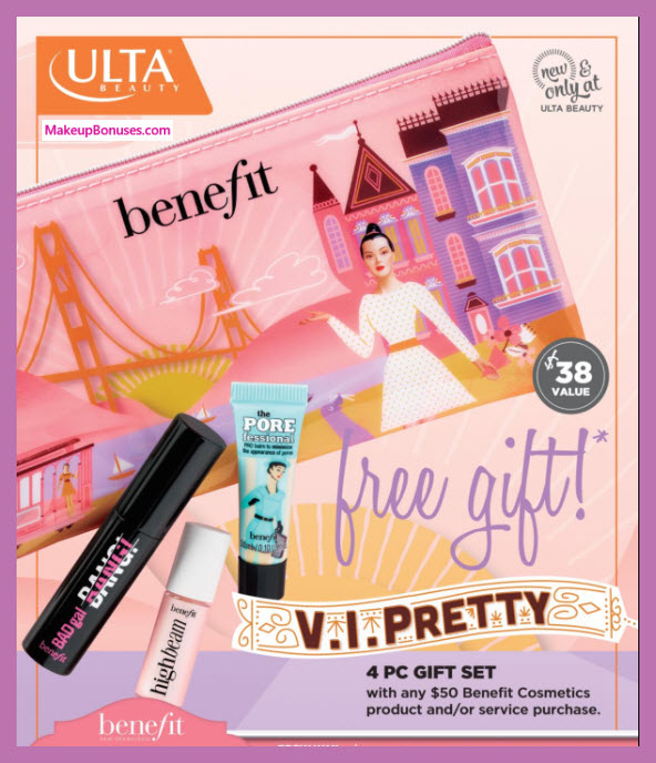 Receive a free 4-pc gift with $50 Benefit Cosmetics purchase