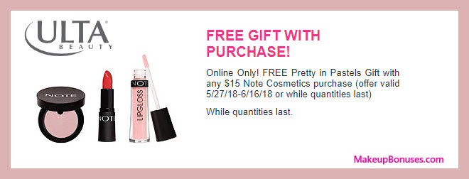 Receive a free 3-pc gift with $15 NOTE Cosmetics purchase