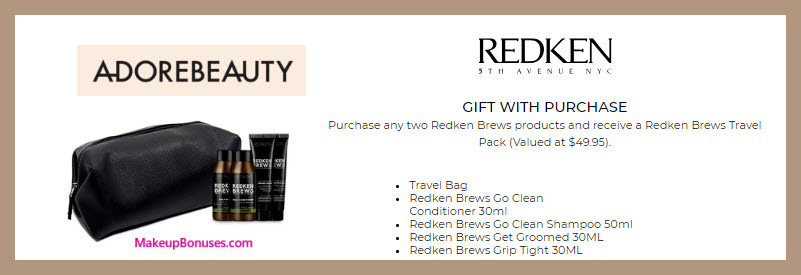 Receive a free 5-pc gift with 2+ Redken Brews products purchase