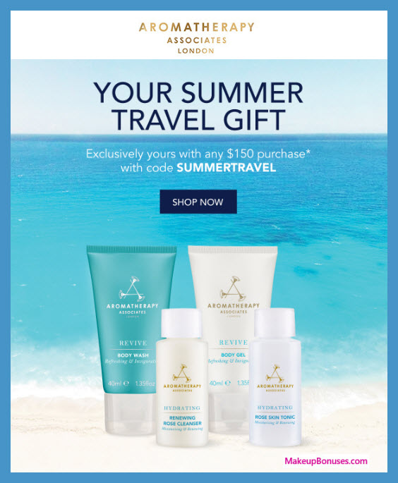 Receive a free 4-pc gift with $150 Aromatherapy Associates purchase