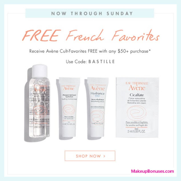 Receive a free 4-pc gift with $50 Avène purchase