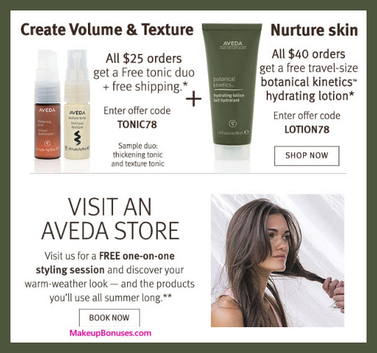 Receive a free 3-pc gift with $40 Aveda purchase