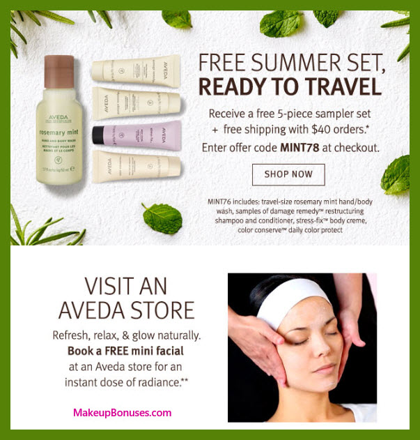 Receive a free 5-pc gift with $40 Aveda purchase