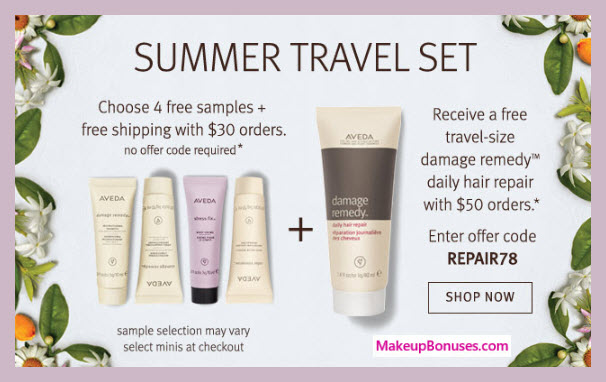 Receive your choice of 4-pc gift with $30 Aveda purchase