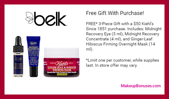 Receive a free 3-pc gift with $50 Kiehl's purchase