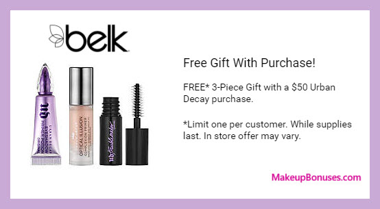 Receive a free 3-pc gift with $50 Urban Decay purchase