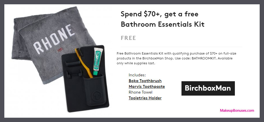 Receive a free 4-pc gift with $70 full-size products in BirchboxMan shop purchase