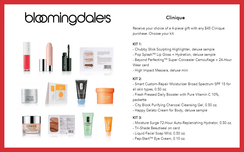 Receive your choice of 4-pc gift with $45 Clinique purchase