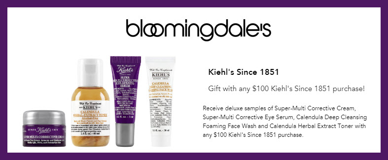 Receive a free 5-pc gift with $100 Kiehl's purchase