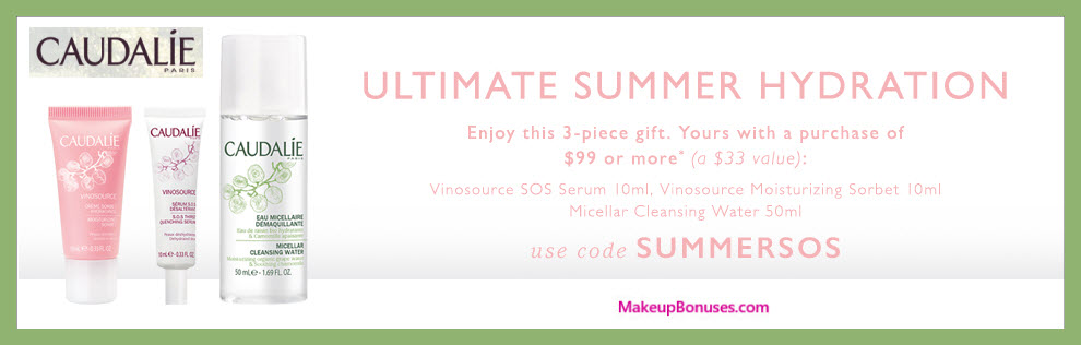 Receive a free 3-pc gift with $99 Caudalie purchase