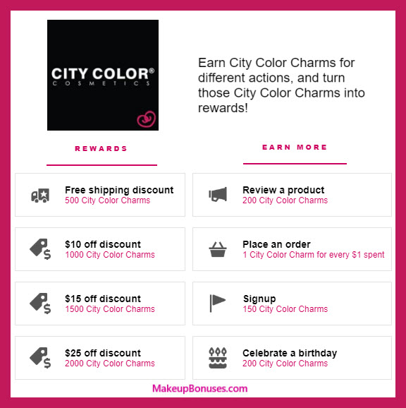 City Color Cosmetics Birthday Gift - MakeupBonuses.com #CityColorbeauty