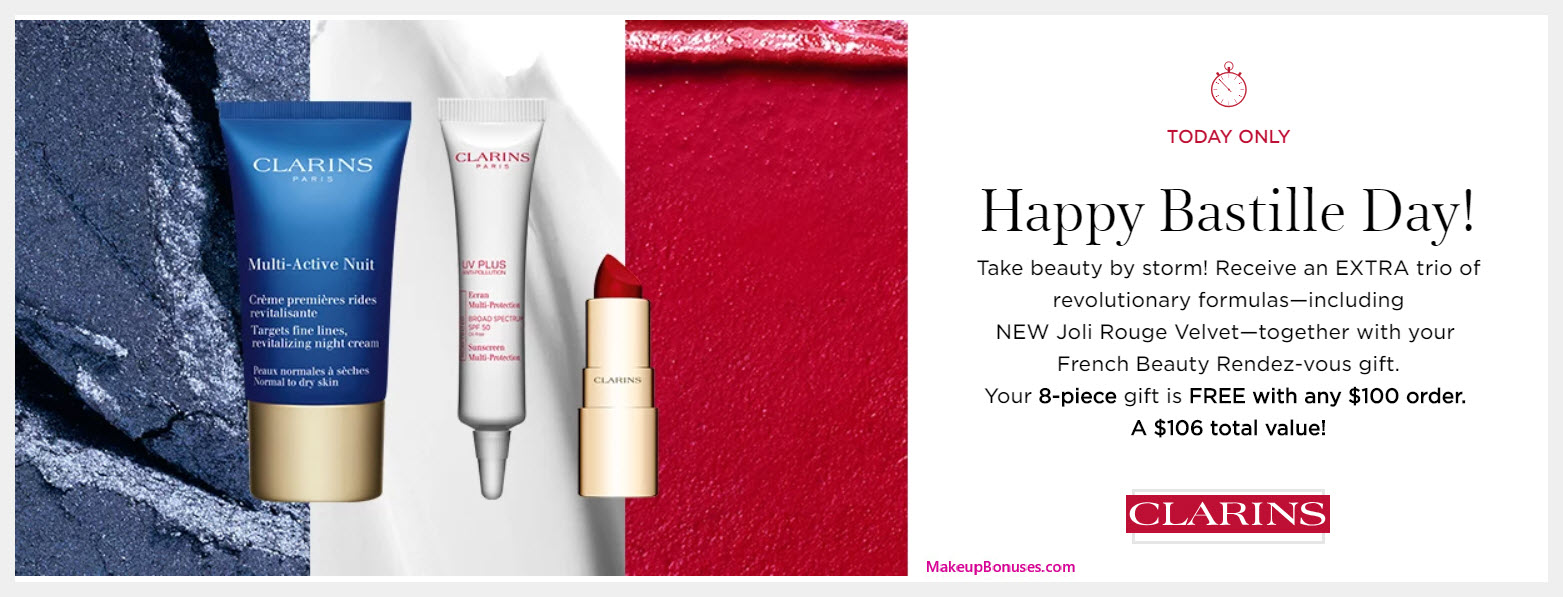 Receive a free 8-pc gift with $100 Clarins purchase