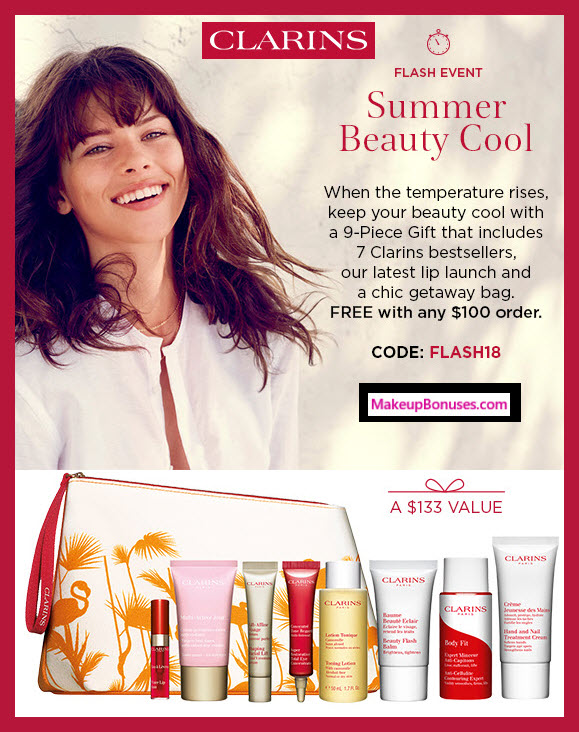 Receive a free 9-pc gift with $100 Clarins purchase