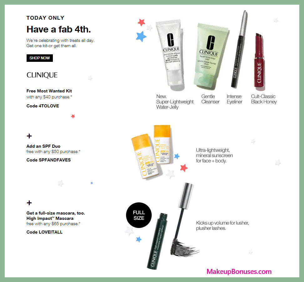 Receive a free 6-pc gift with $50 Clinique purchase